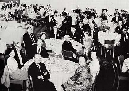 "The Arkansas Delegation Breakfast at the Hotel Statler Hilton in Los Angeles during the Democratic National Convention in July 1960; Jack ""Papa"" Stephens and Ray Thornton are seated at the front table; among those pictured are Senator Olen Hendrix, Judge Jim Malone, Democratic National Committeeman Tom Harper, Representative Paul Van Dalsem, Bill Smith, Sam Boyce, Fred Pickens, Leon Cattlett, and Reed Thompson © Pryor Center for Arkansas Oral and Visual History, University of Arkansas"